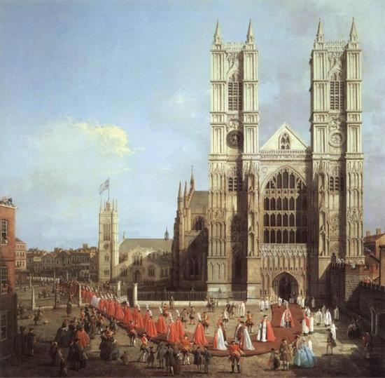 Abbazia Westminster il corteo dei cavalieri dell'Ordine del Bagno 1749