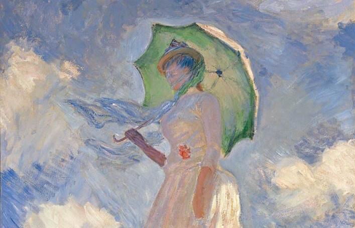 Donna con il parasole girata verso sinistra