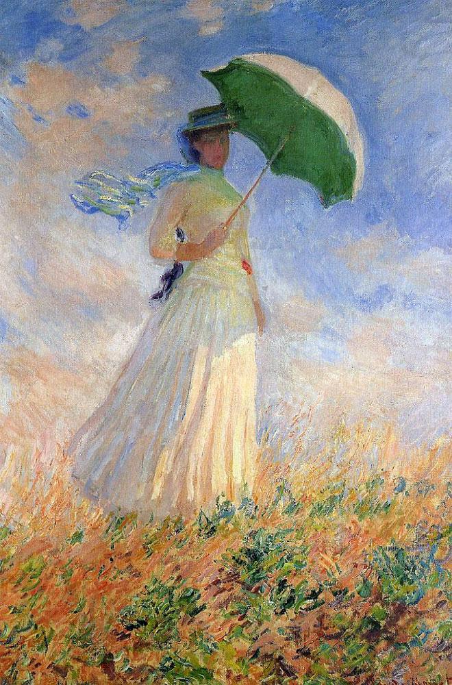Saggio di figura en plein air. Donna con il parasole girata verso destro